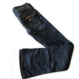 Hudson Double Button Flare Jeans 24 Dark Long